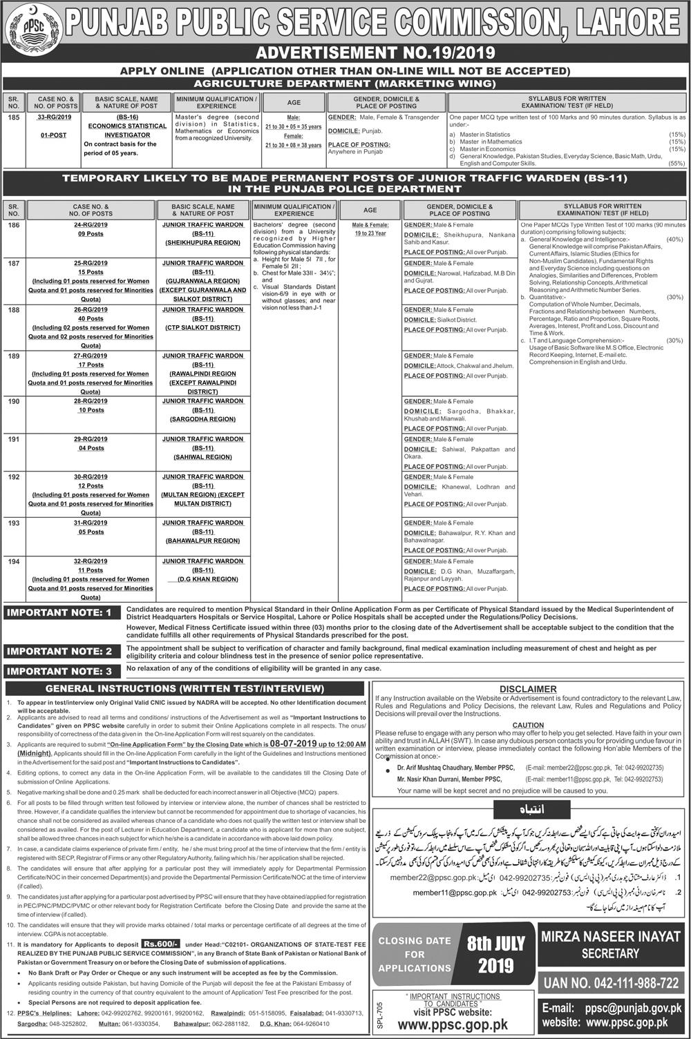 PPSC Jobs 2019 Junior Traffic Warden in Punjab Police