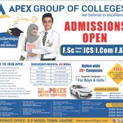 Apex Group of Colleges FSc, ICS, I.Com & FA Admission 2019, Scholarships