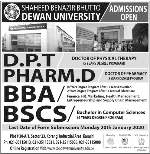 SBB Dewan University Karachi Admission 2020 Schedule, Apply Online