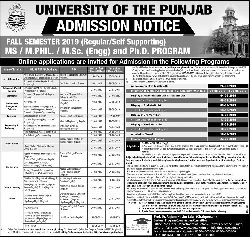 Punjab University (PU) M.Sc, MS, M.Phil & PhD Admission 2019