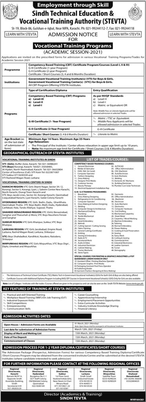 STEVTA Admission 2021 in Competency Based Training Programs