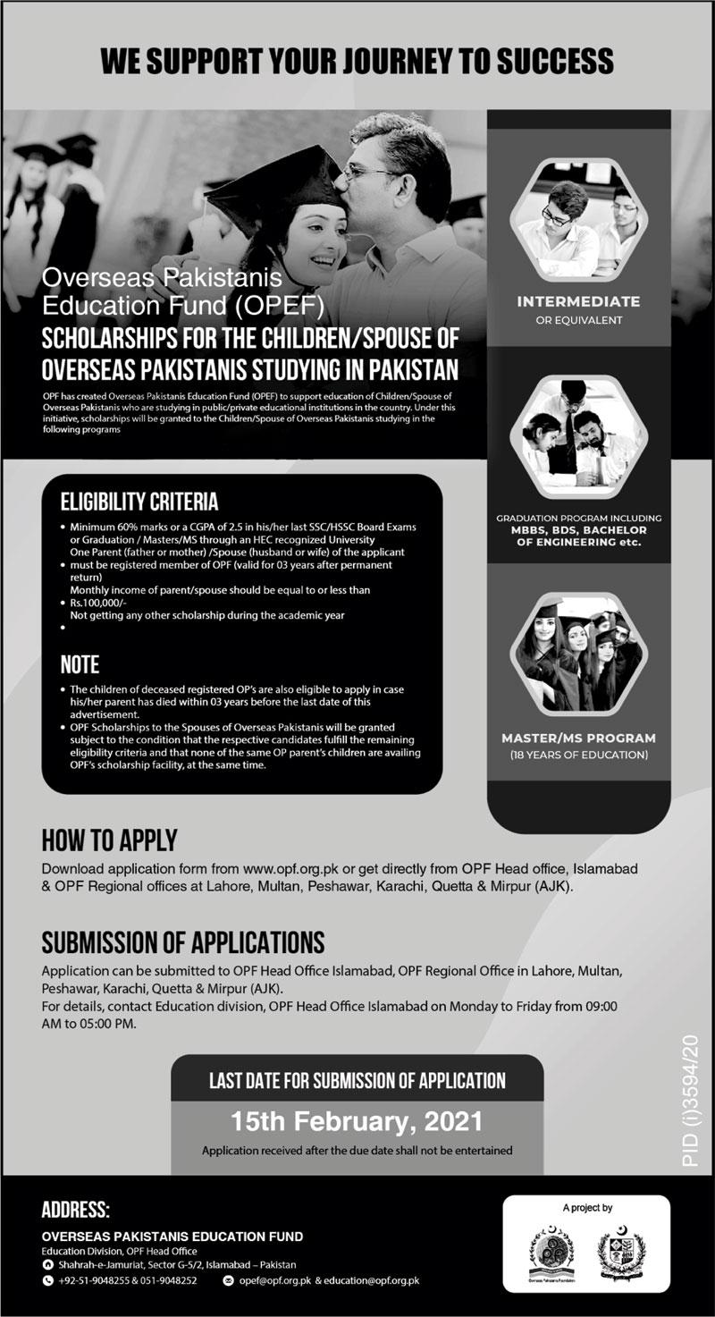 OPEF Scholarships Program 2021 For Overseas Pakistani Students