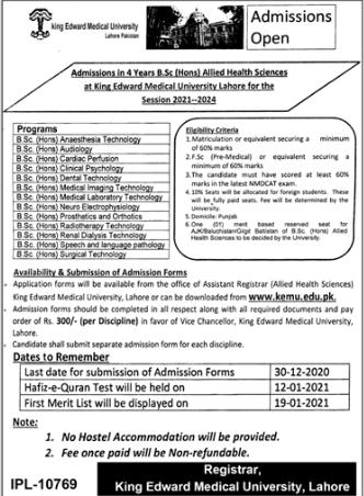 KEMU Admission 2021 In 4 Years BS (Hons)