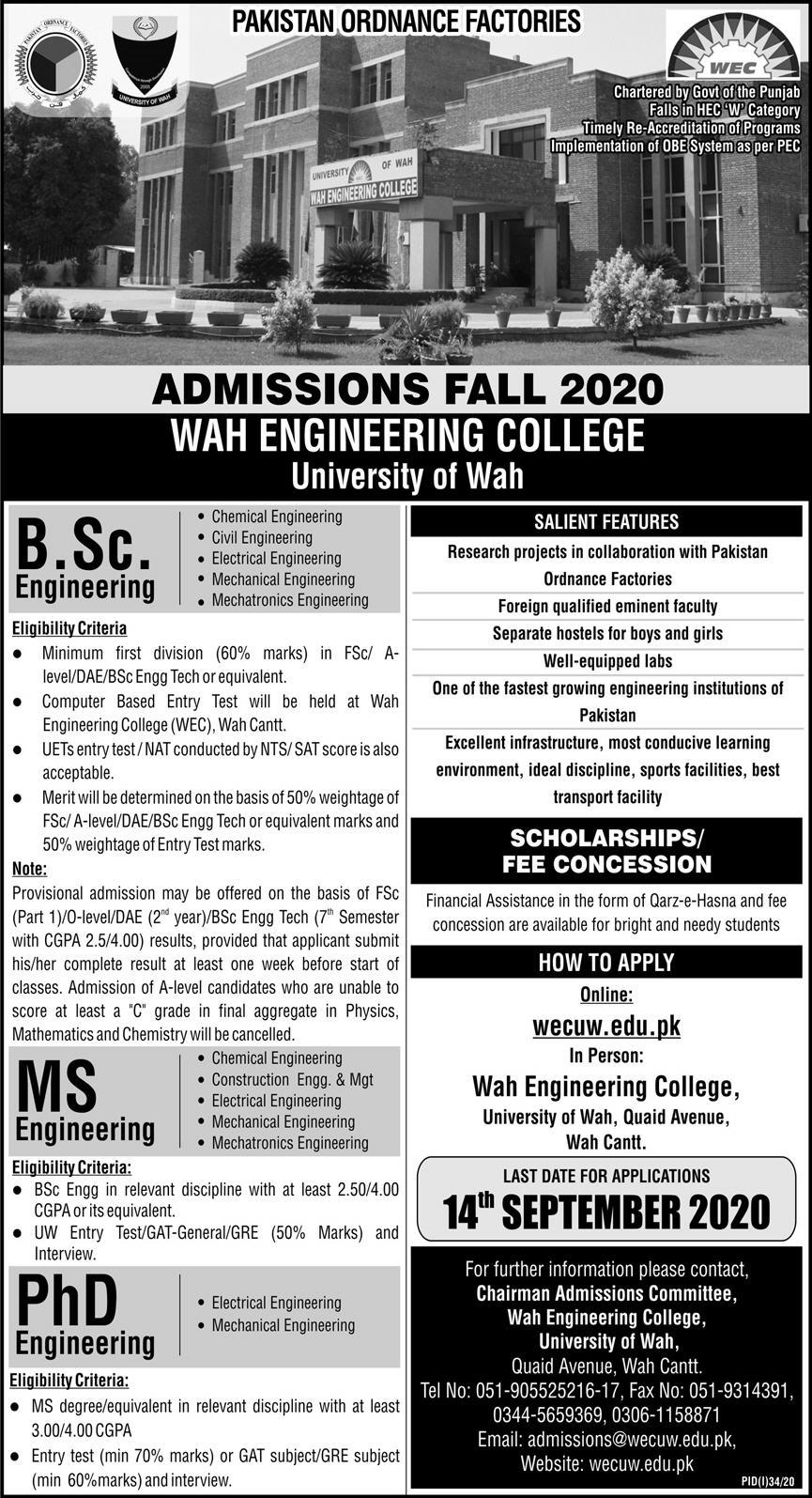 Wah Engineering College WECUW Admission 2020 in BS, MS & PhD