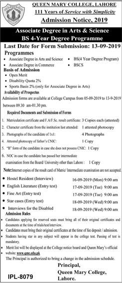 QMC Lahore BA, BSC, BCOM, BS Honors Admission 2019, Merit list