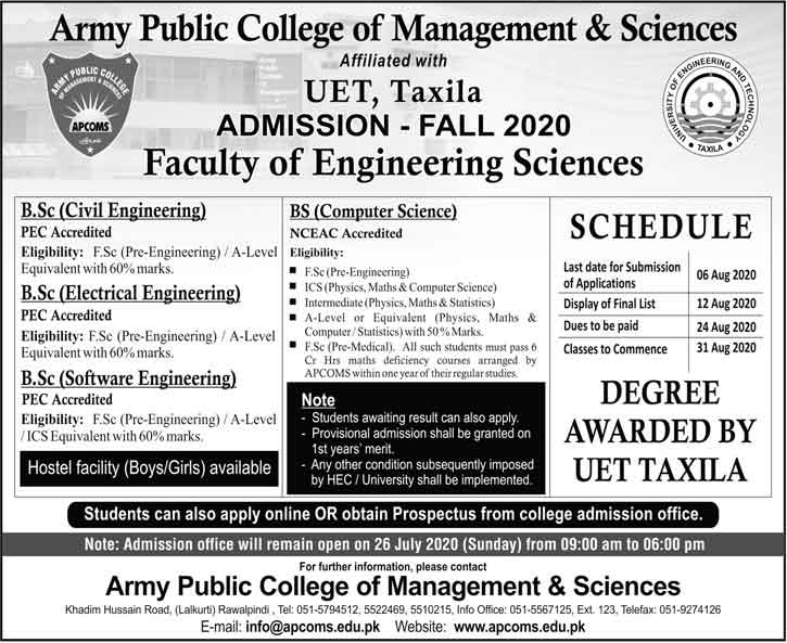 UET Taxila APCOMS Admission 2020 in BSCS & BSc Electrical Engg