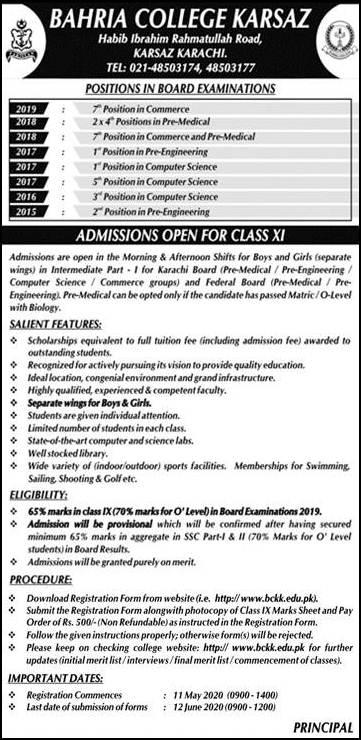 Bahria College Karsaz Karachi Admission 2020 in 1st Year