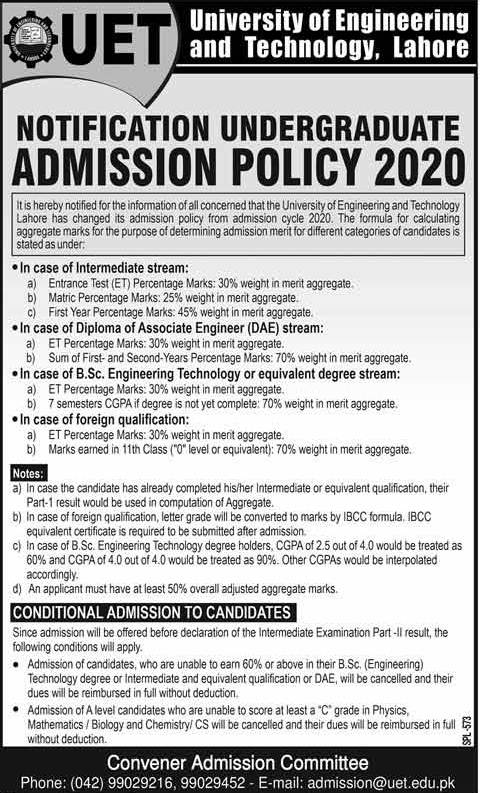 UET Lahore Notice For Undergraduate Admission 2020 & ECAT