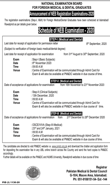 PMDC NEB Exam Schedule 2020 For Foreign Doctors & Dentists