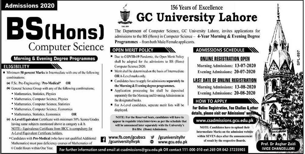 GC University Lahore BS (Hons) Admission 2020, Form, Last Date