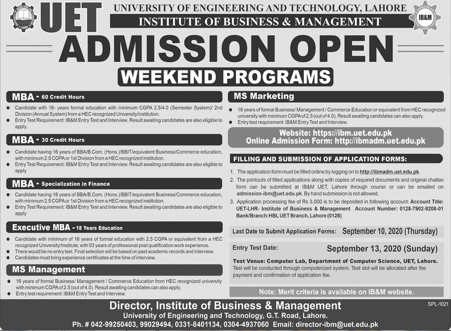 IB&M UET Lahore MBA, BBA, BBIT, MS Admission 2020, Form & Entry Test Result