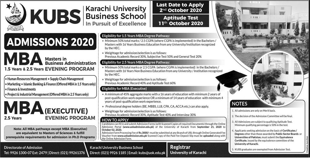 Karachi University Business School Admission 2020 in MBA & EMBA
