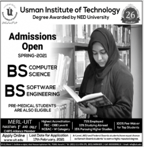 Usman Institute Of Technology Karachi BS & BE Admission 2021