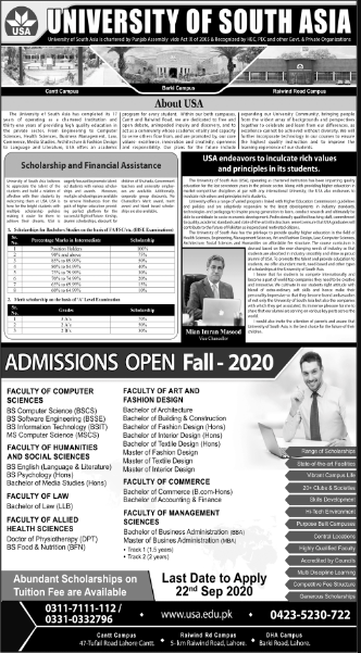 University of South Asia (USA) Admission 2020, Last Date, Form