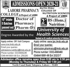 Lahore Pharmacy College Pharm-D Admission  & BS Hons in Nutrition 2020