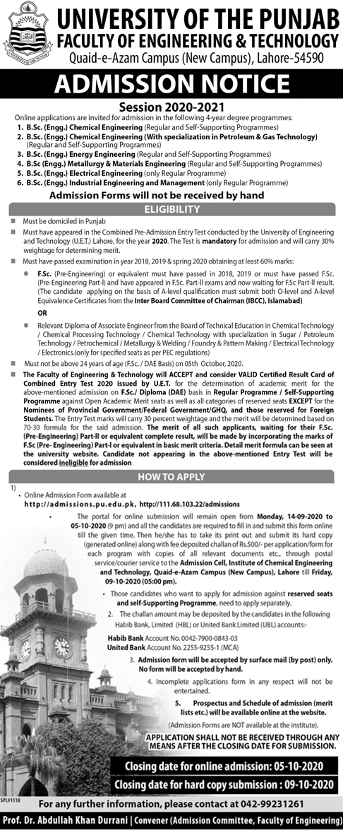 Punjab University Lahore Admission 2020 in BSc Engineering, Form, Eligibility