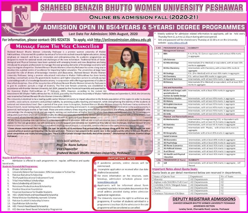 Shaheed Benazir Bhutto Women University Peshawar Admission 2020 in BS