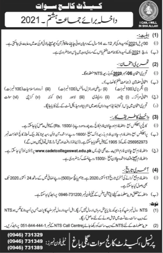 Cadet College Swat 8th Class Admission 2021, Form Download