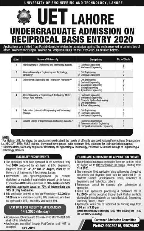 UET Lahore Undergraduate Admission 2020 on Reciprocal Basis