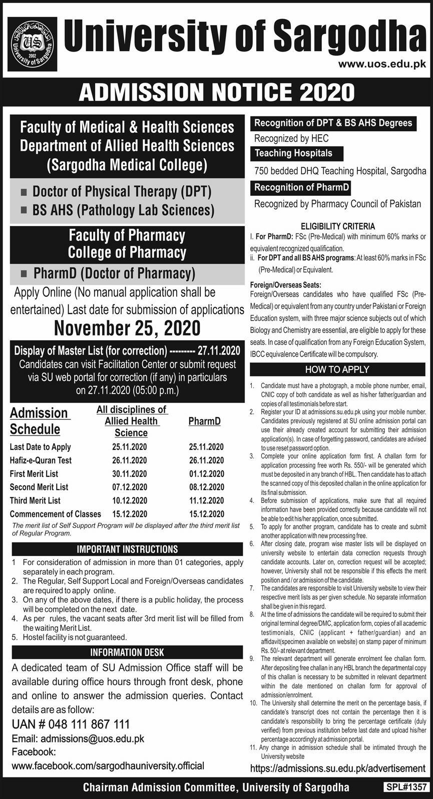 University Of Sargodha DPT, BS AHS, and Pharm D Admissions 2020