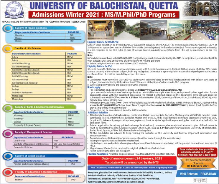 University of Balochistan UOB MS & PhD Admission 2021