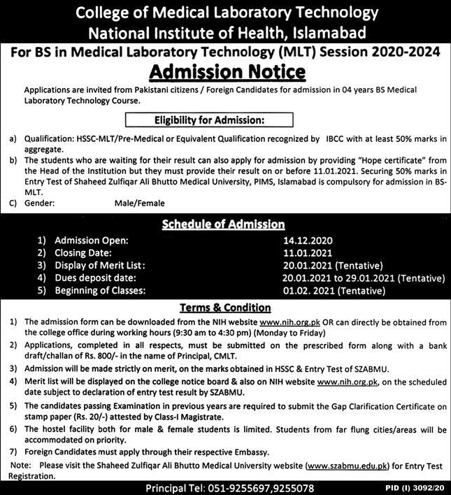CMLT NIH Islamabad Admission 2020 in BS MLT, Form, Merit List