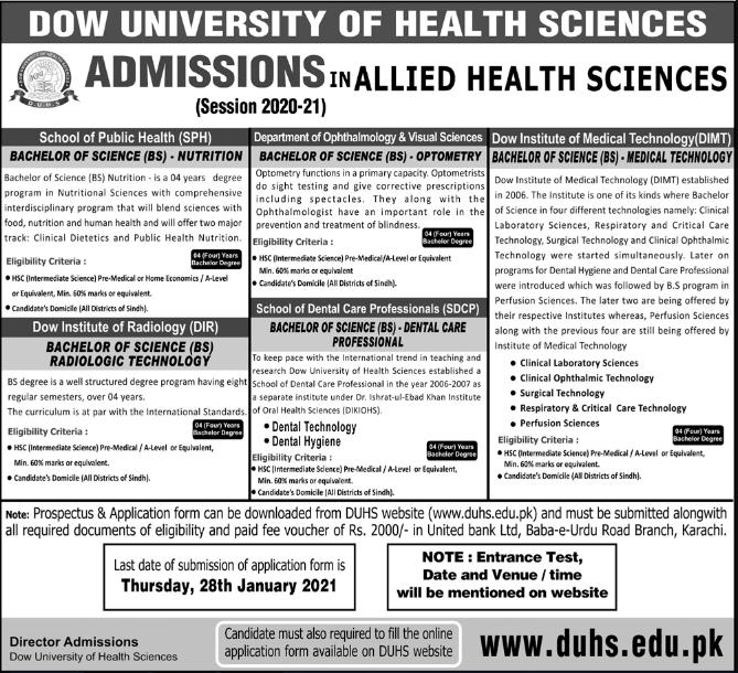 DOW University Of Health Sciences DUHS Admission 2021