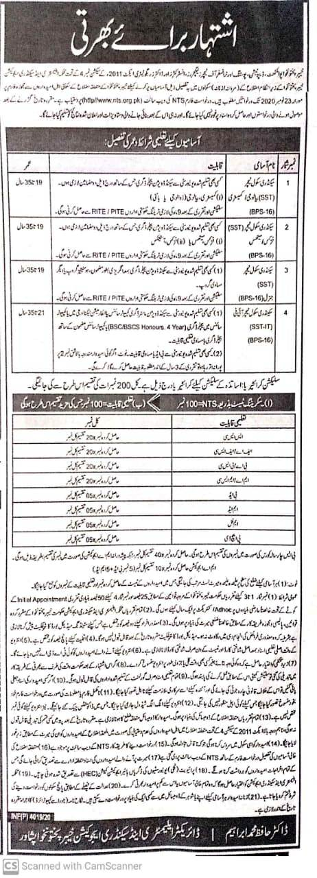 Latest SST Jobs 2020 in KPK, NTS Form, Result, Merit List