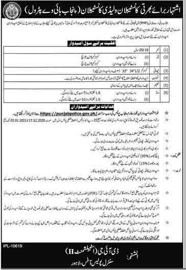 Punjab Highway Patrol Constables & Lady Constables Police Jobs 2021