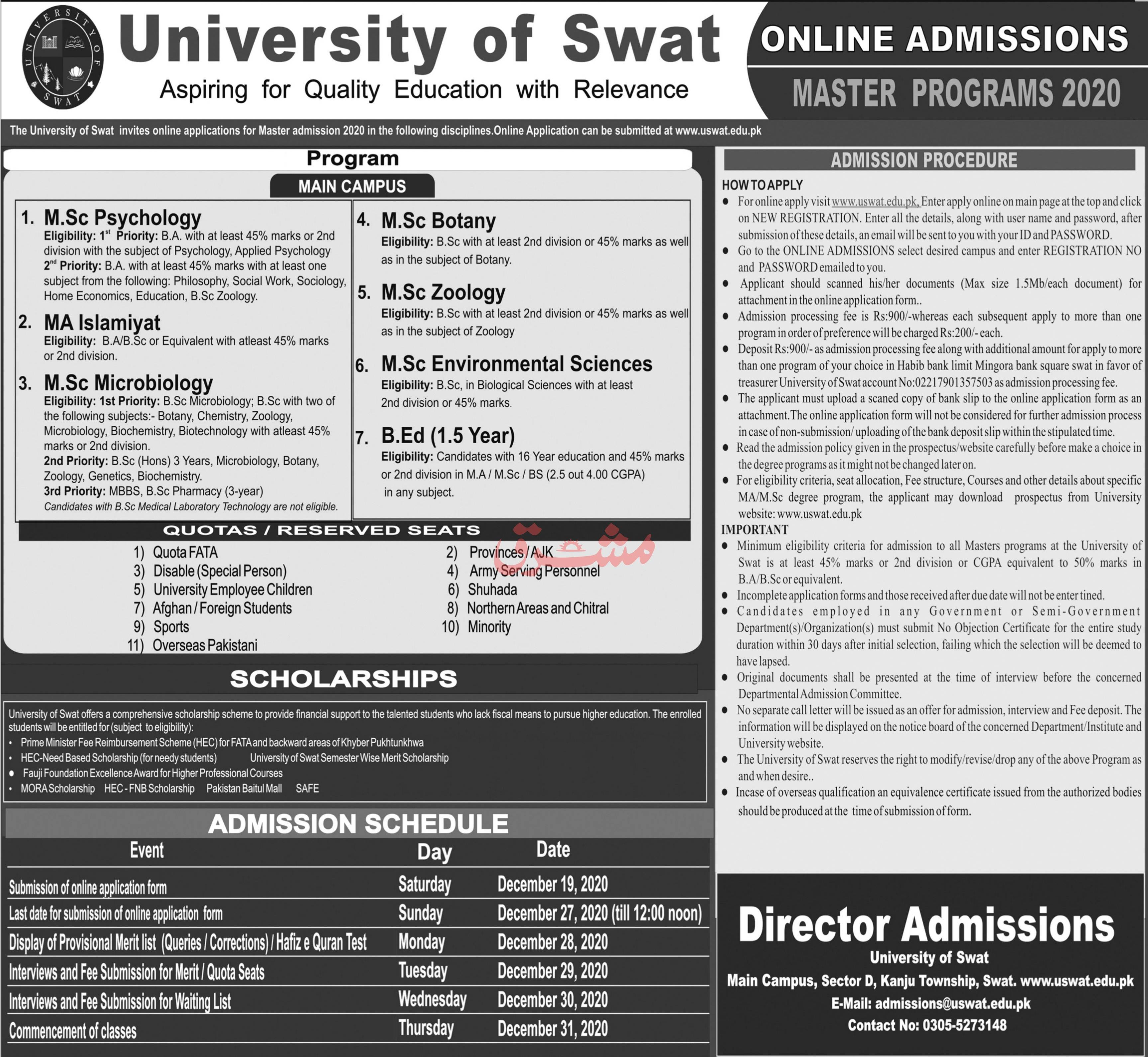 University of Swat Master Programs Admission 2021 in MA & MSc