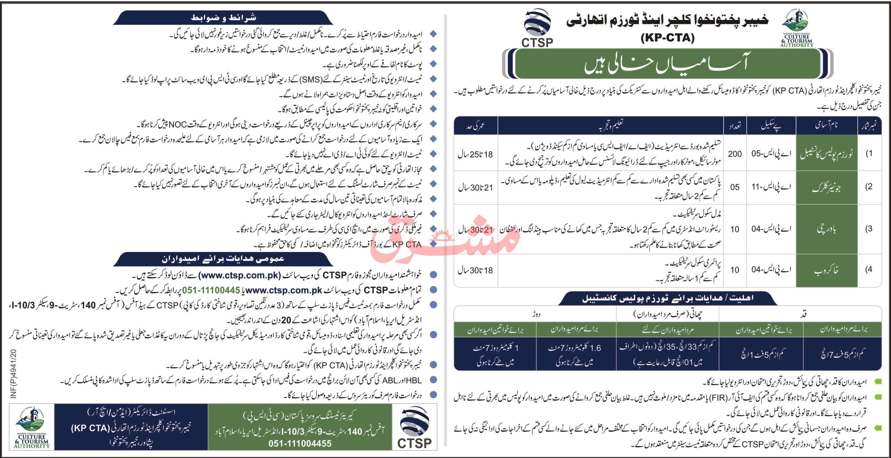 KPK Culture & Tourism Authority Jobs 2021, CTSP Form, Result