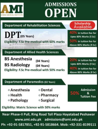 Ahmad Medical Institute Peshawar Admission 2021, Scholarships, Programs