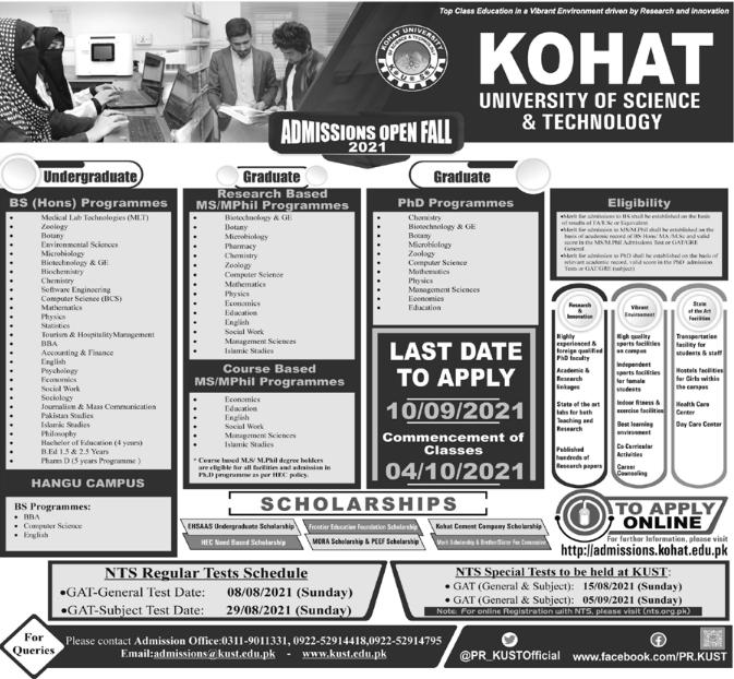 KUST Kohat Admission 2021 in BS, MS & PhD Programs