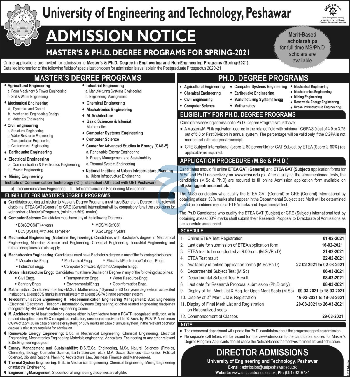 University of Engineering and Technology Peshawar Master & PhD Admission 2021