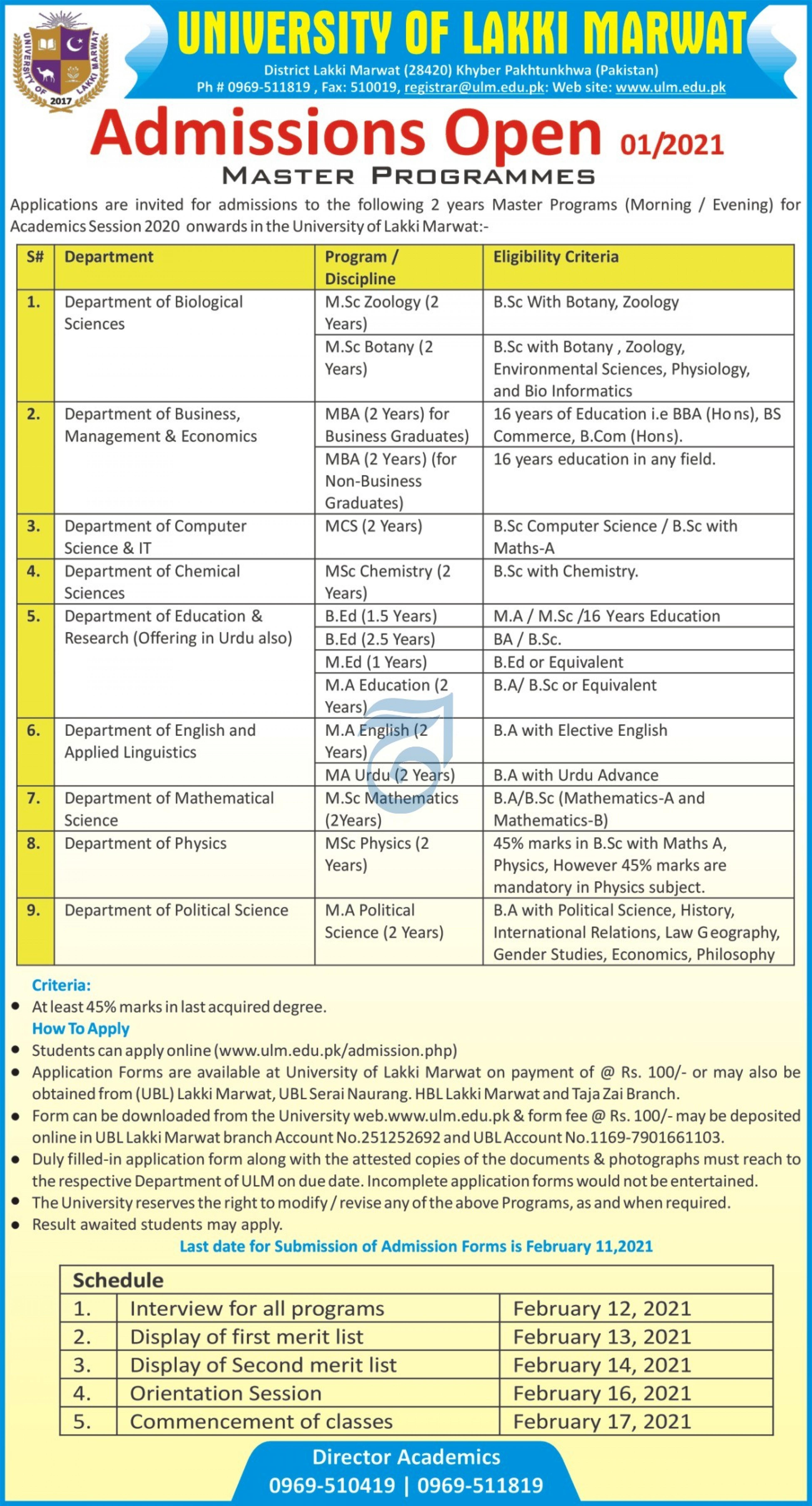 University of Lakki Marwat Master Level Admission 2021 (MA, MSc, BEd)
