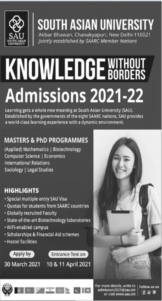 South Asian University New Delhi SAU Admission 2021