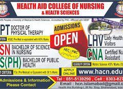 Health Aid College of Nursing & Health Sciences Islamabad Admission 2021