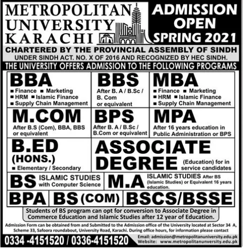 Metropolitan University Karachi Admission 2021 Schedule, Courses