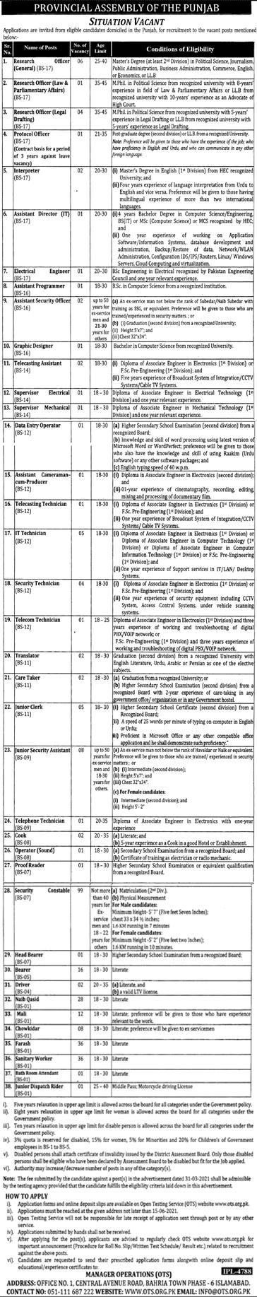 Punjab Assembly Jobs 2021, Apply Online Through OTS, Roll No, Slip, Result