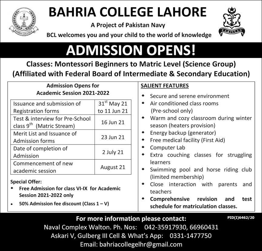 Bahria College Lahore BCL Admission 2021 Schedule