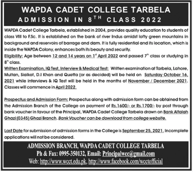 Wapda Cadet College Tarbela Admission 2022 in 8th Class