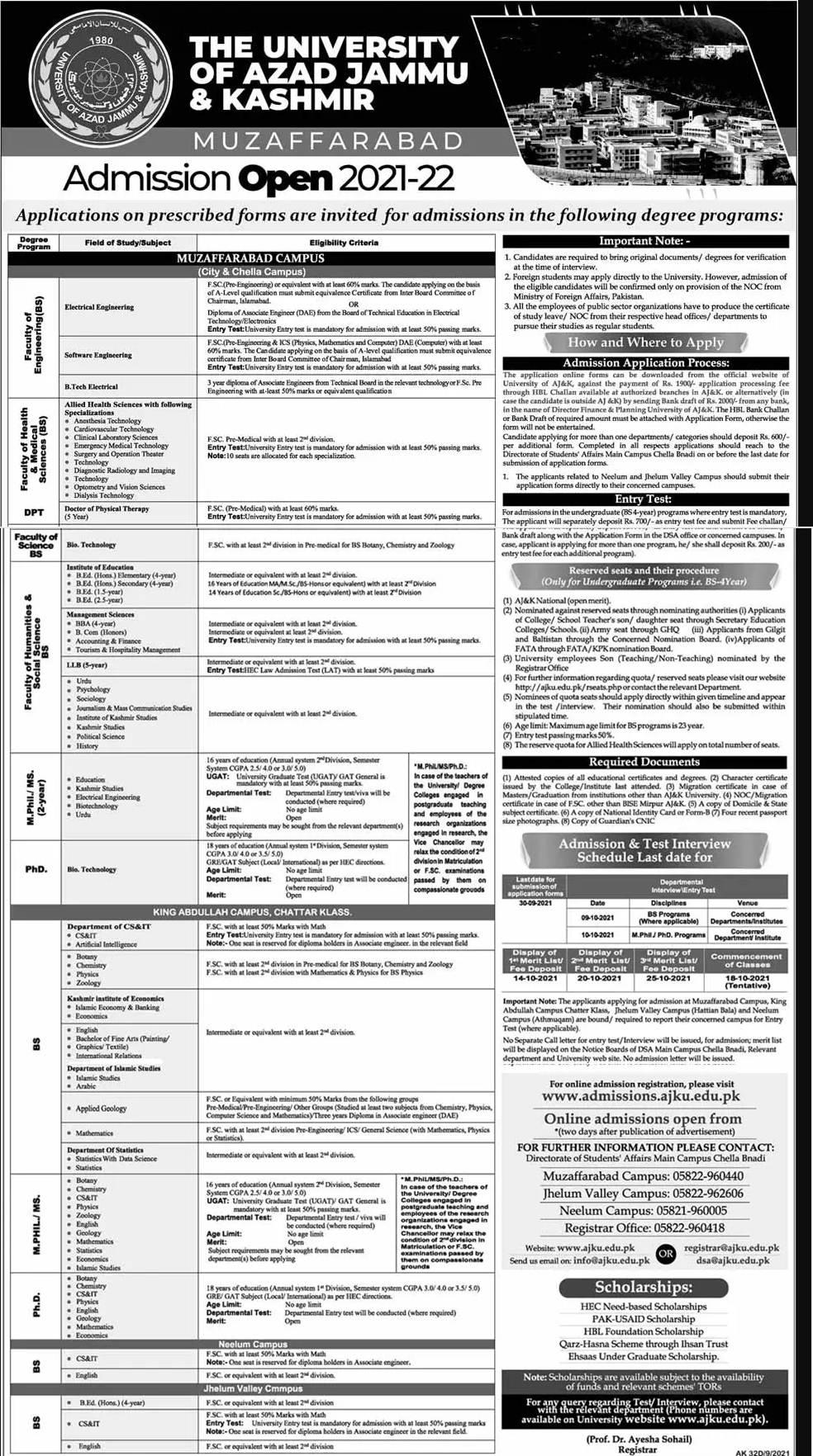 AJKU Muzaffarabad Admission 2021 Schedule, Apply Online, Merit List