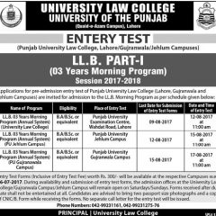 PU Law College LLB Entry Test 2021 Schedule & Result